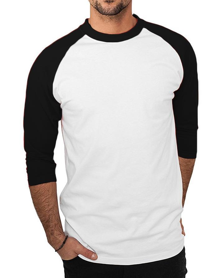 62cc88ec54 White & Black Plain Full Sleeves T-Shirt: Buy Online at Best Prices ...