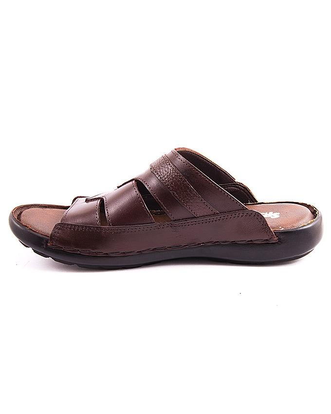 Brown Synthetic Leather Slipper for Men - 118/14