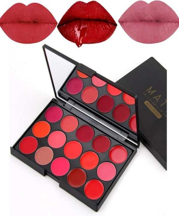 MISS ROSE 15 Colors Red Sexy Pigments Matte Lipstick Palette