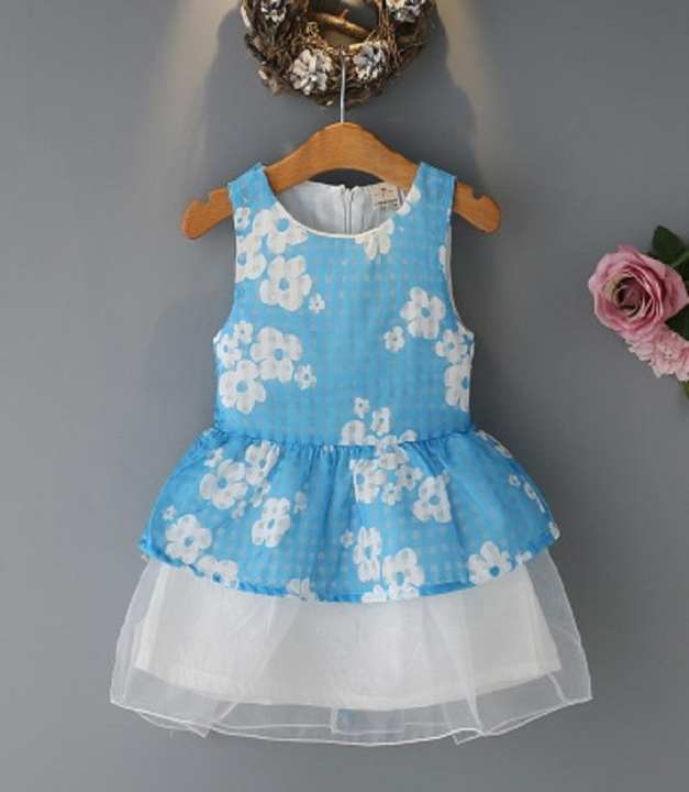 Sky Blue & White Cotton Frock For Girls