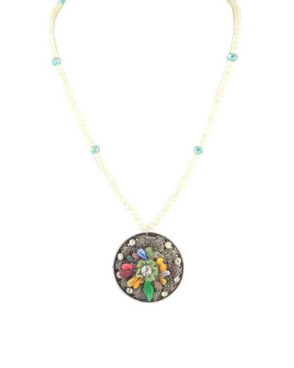 Multi Color Metal Hand Made Necklace & Earring Set for Women - RIZ-NKS-51