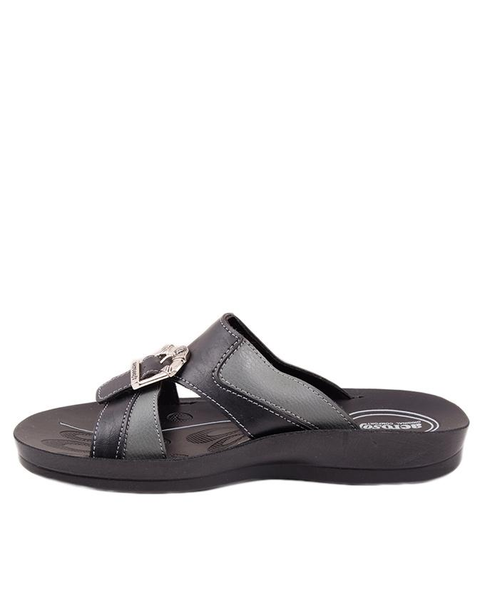 Black Synthetic Leather Sandals For Men - P4301-GREY