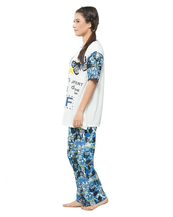 Blue Jersey Night Suit for Women