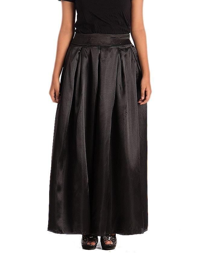 9f801e11b106 Black Pleated Satin Silk Skirt for Women - J011