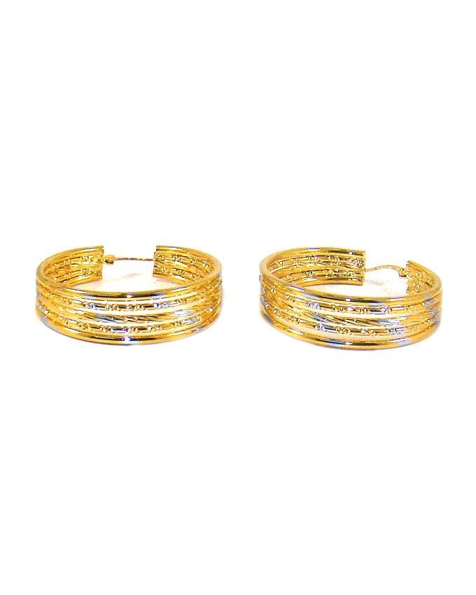 Golden Metal Round Earrings For Women - ER22GS