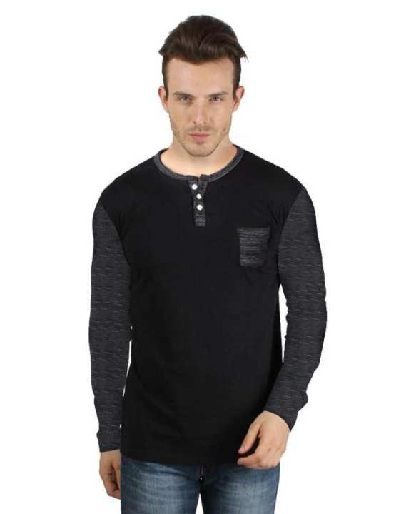Black Solid Multi Color Cotton Full Sleeves T Shirt
