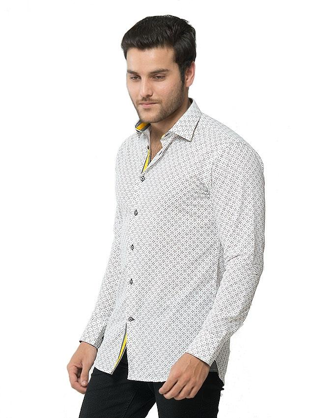ACLIPSE - White Printed Cotton Shirt for Men - FS16052
