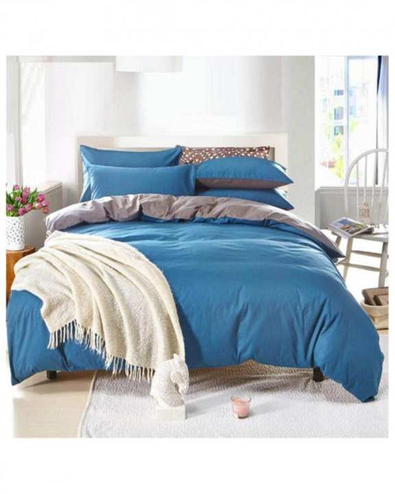 Blue & Grey Cotton Bed Set