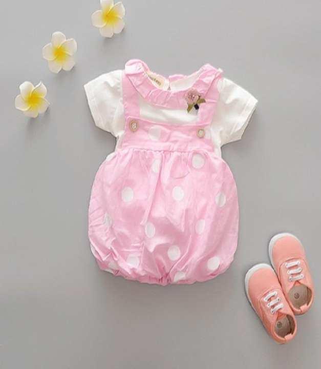Pink & White Polka Dot Jumpsuit For Girls