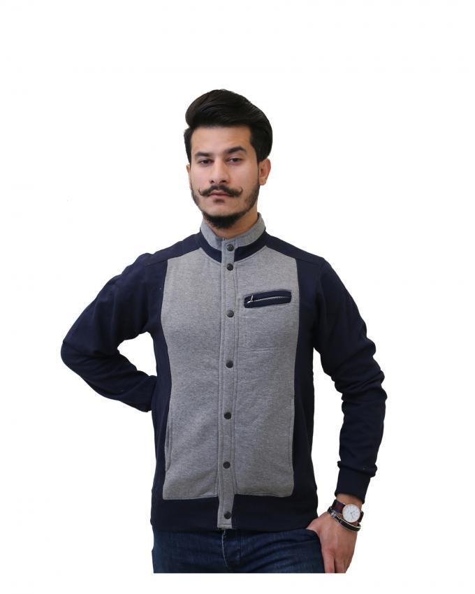 Grey & Blue Fleece Button Down Jacket for Men