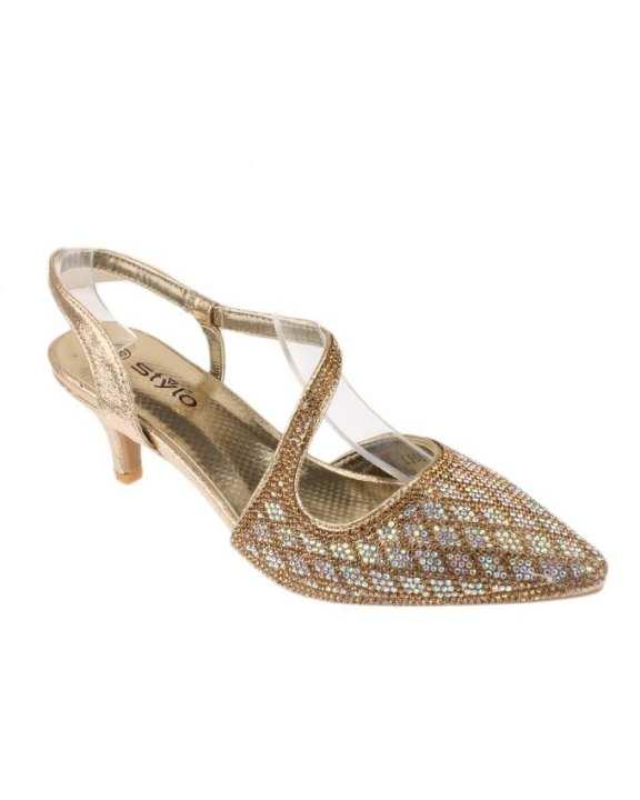 Rubber Sole Stylo Golden Small Heels For Women