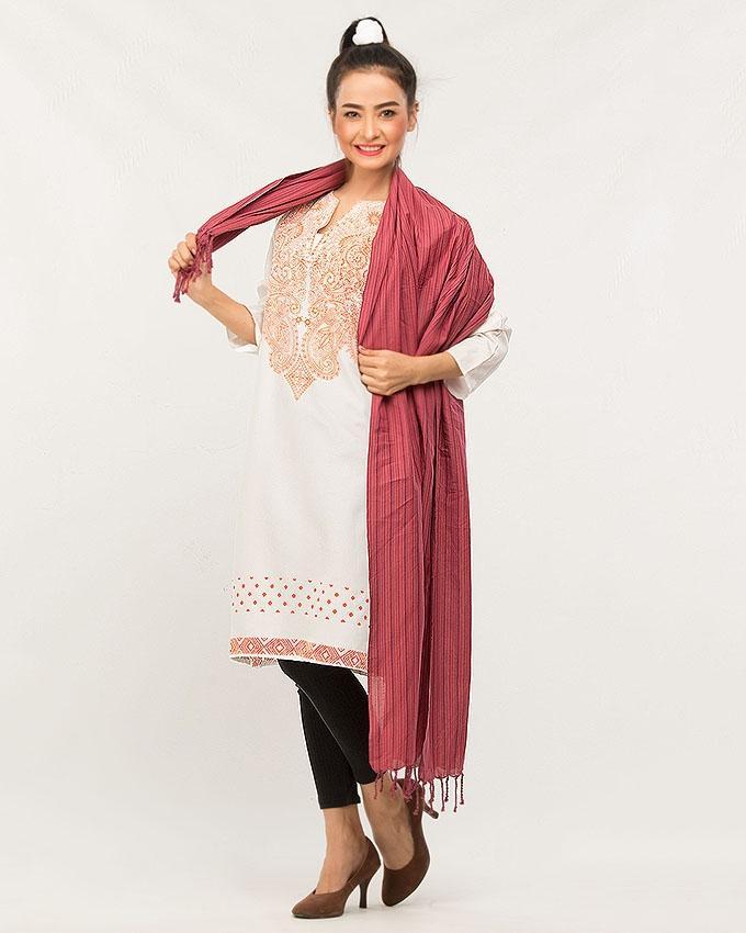 321eeb9930 Pink Striped Cotton Stole Duppatta For Women