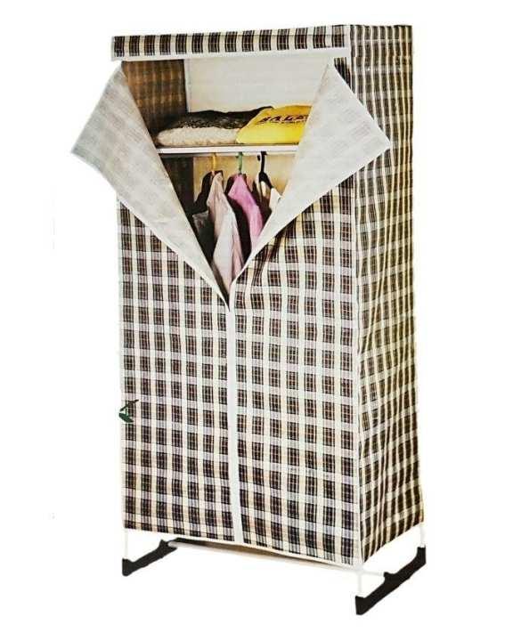 Folding Canvas Wardrobe - Brown & White