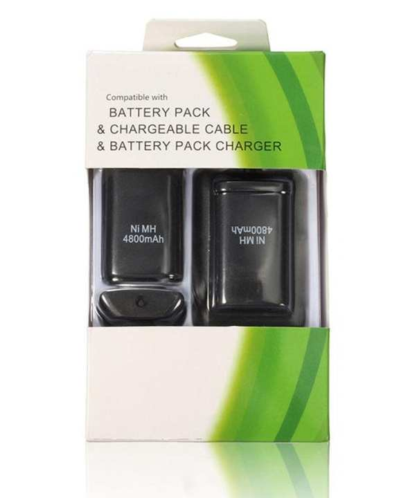 3 in 1 - Rechargeable Battery Pack & Cable Kit for Xbox 360 - 4800mAh - Black