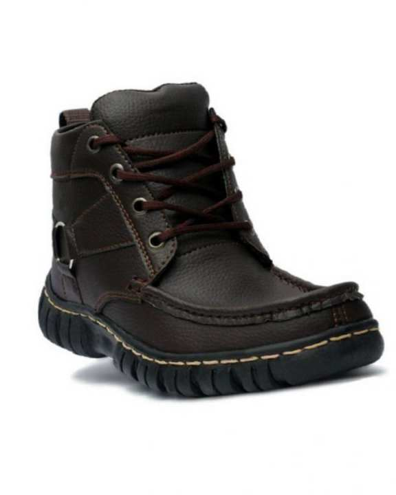 Brown Leather Digger Long Boots for Men