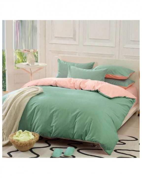 Tea Pink and Green Cotton Bed Set - d-06