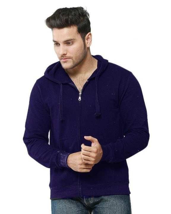 Navy Blue Fleece Zipper Hoodie For Men