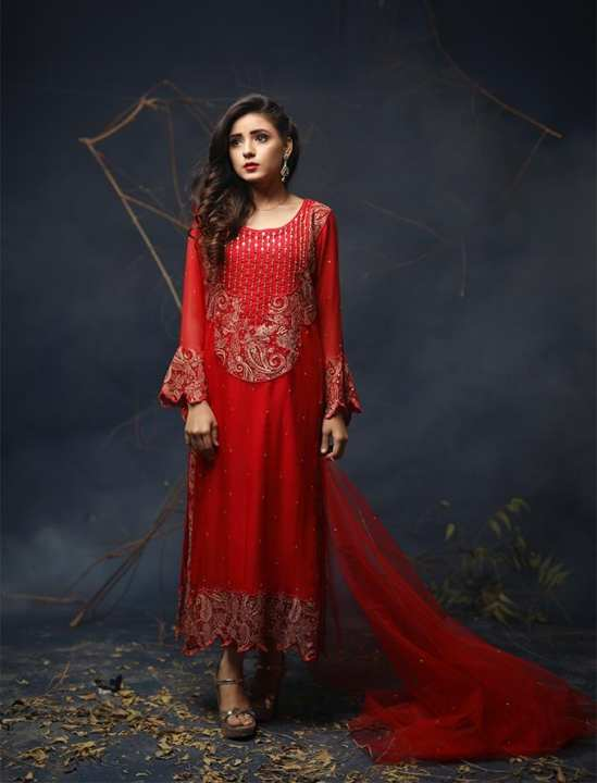 Red Chiffon Party Wear For Women