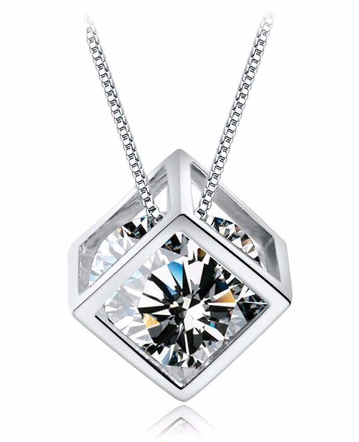 Silver Transparent Zircon Charm Crystal Pendant Necklace For Women