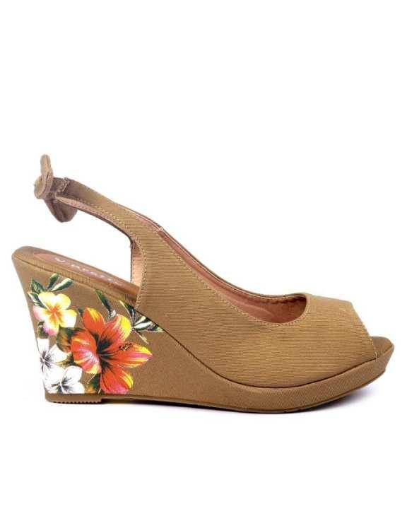 Beige Floral Peep Toe Wedge for Women