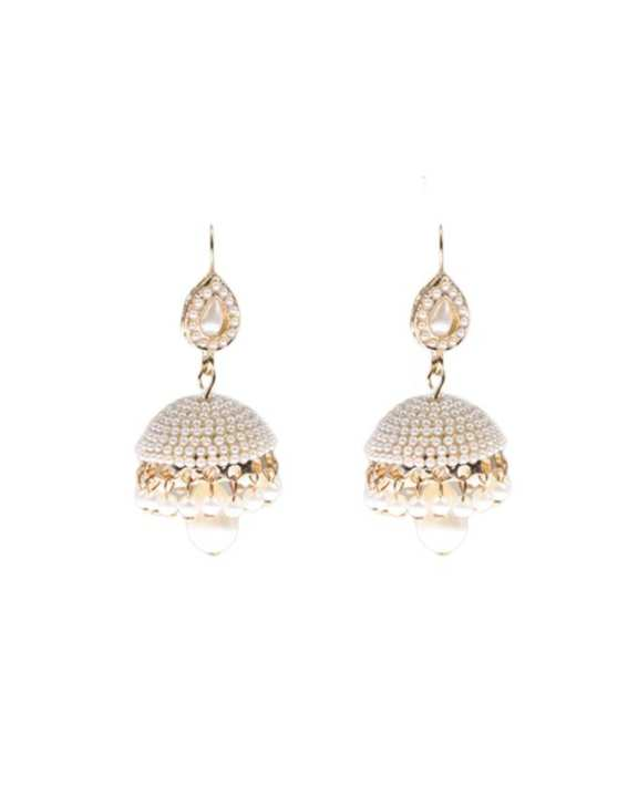 Elegant Gold plated pearl jhumki earrings with gift box