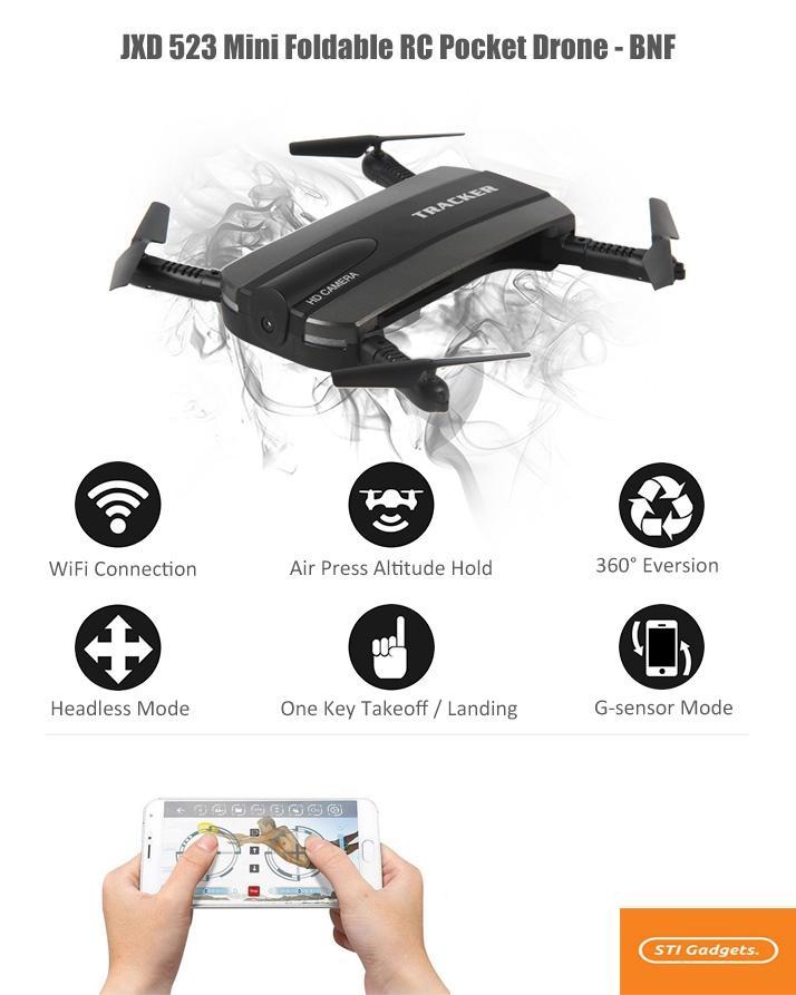 JXD-523 Tracker Folding Mini RC Drone Selfie Wifi FPV 720P HD Camera Quadcopter