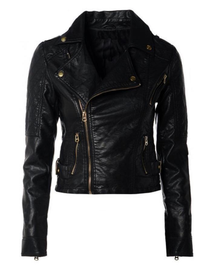 Black Ladies Leather Jacket For Women