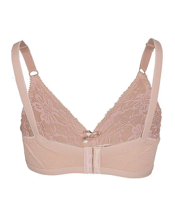 Skin Knitted Cotton with Lace Bra for Women