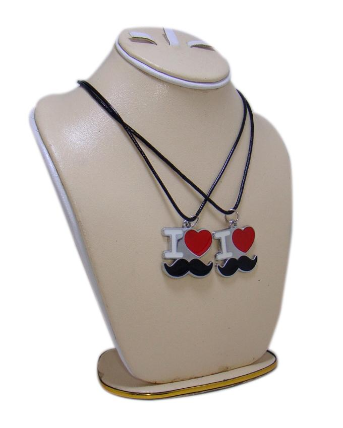Combo of I Love Mustache Pendant for Boys and Girls