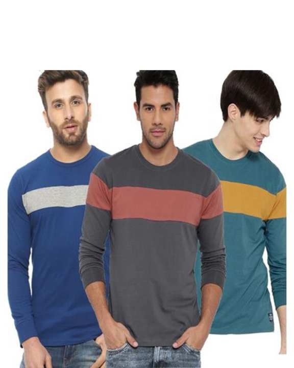 Pack Of 3 - Multicolor Cotton Full Sleeves T-Shirts For Men