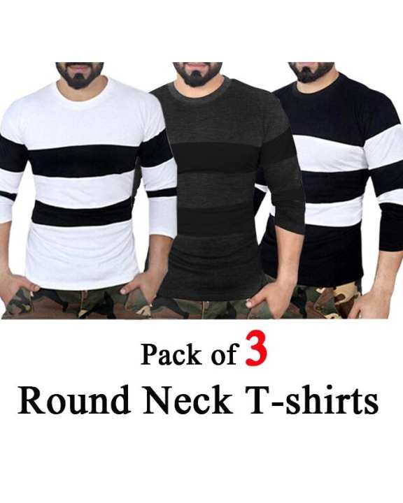Pack of 3 - Multicolour Cotton Round Neck Tshirt For Men