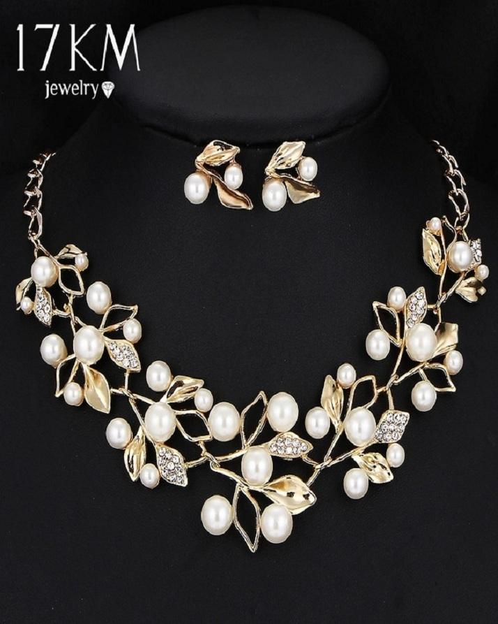 Jewellry Set For Women's Necklace Earrings Fashion New Style Pearl Jewelry Gold Pearl
