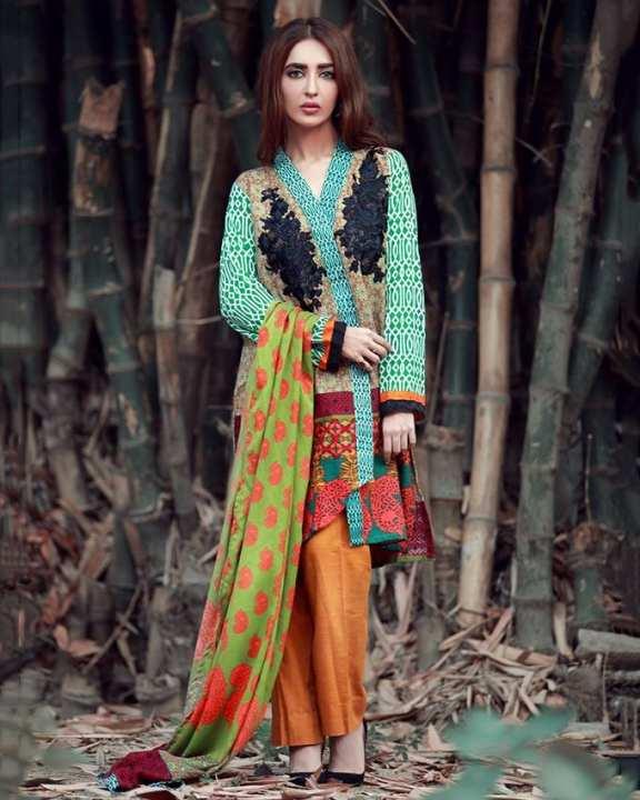 Orange Melba Khaddar La Moderno Embroidered Wool Shawl 3Pc Unstitched Suit For Women