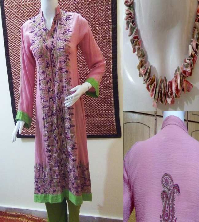 Pink Cotton Shirt Trouser Hand Embroidery Stitched (2P) Suit with Matching Pearl Necklace for Women