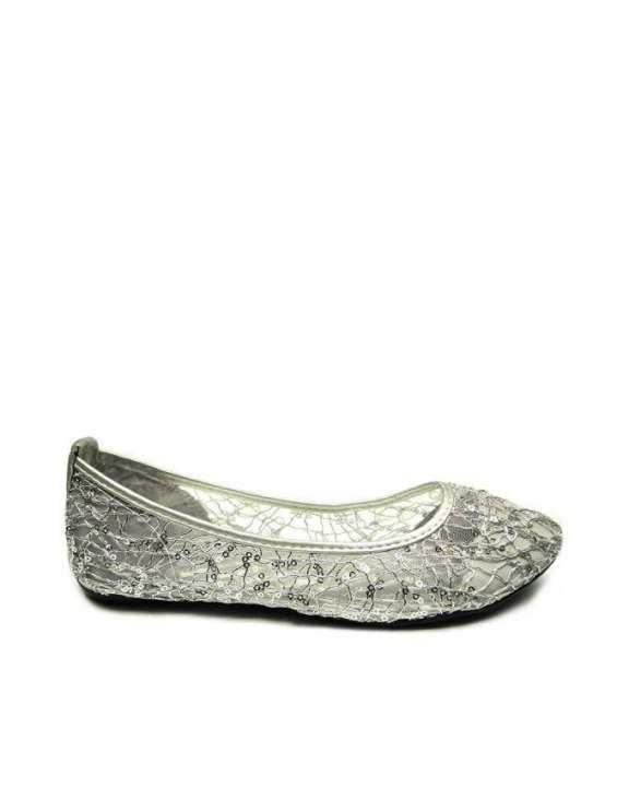 Silver Glittered Ballerina Flats with Net Design - European Size
