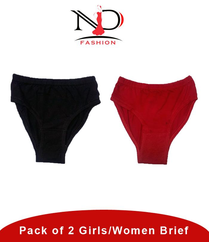21c4c8715ac0 Pack of 2 Red & Black Ladies Comfortable Underwear
