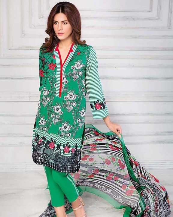 Gul Ahmed - Green Silk with Printed Shirt Embroidered Lace 3PC-Unstitched -  AS-14-158503