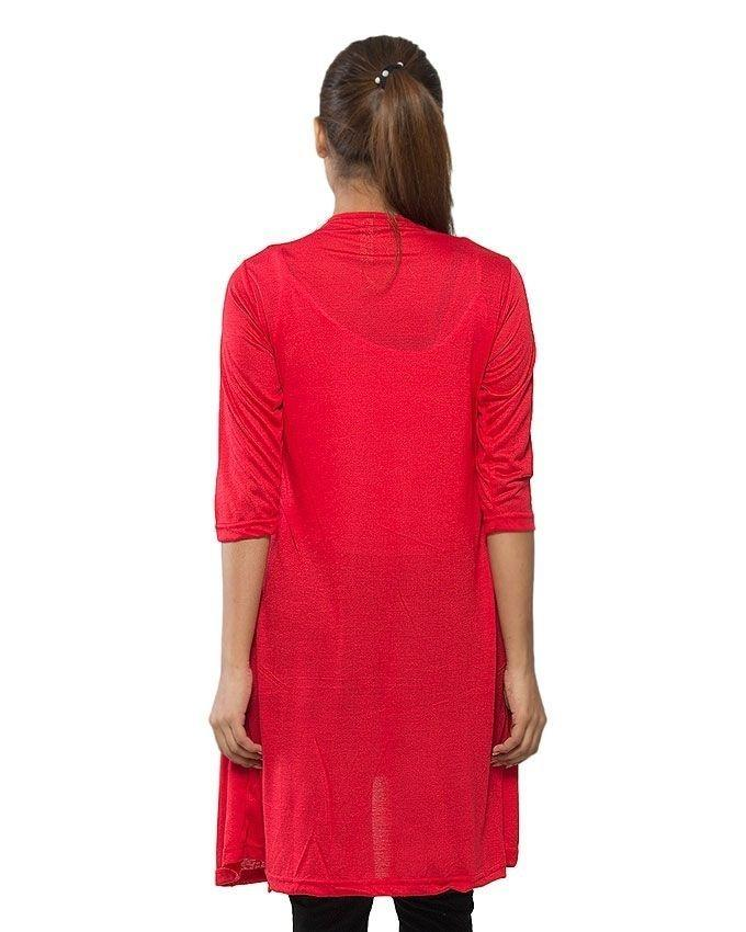 Red Viscose Shrug Style Top for Women - GOL-RST-012