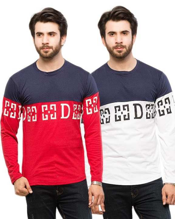 Pack of 2 - Contrast Printed T-Shirts For Men