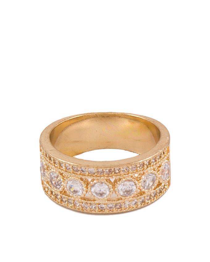 Golden Zircon & Alloy Studded Ring for Women - AK-6