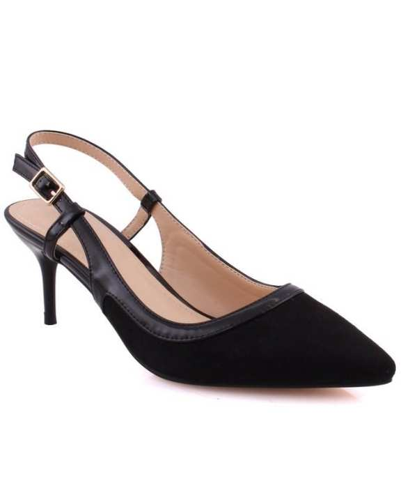 "Women ""LIL"" Pointy Toe Kitten Heel Court Shoes Black L30367"
