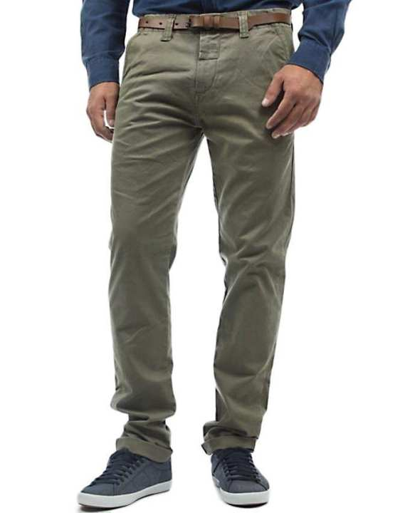 Green Cotton Chino Pant For Men