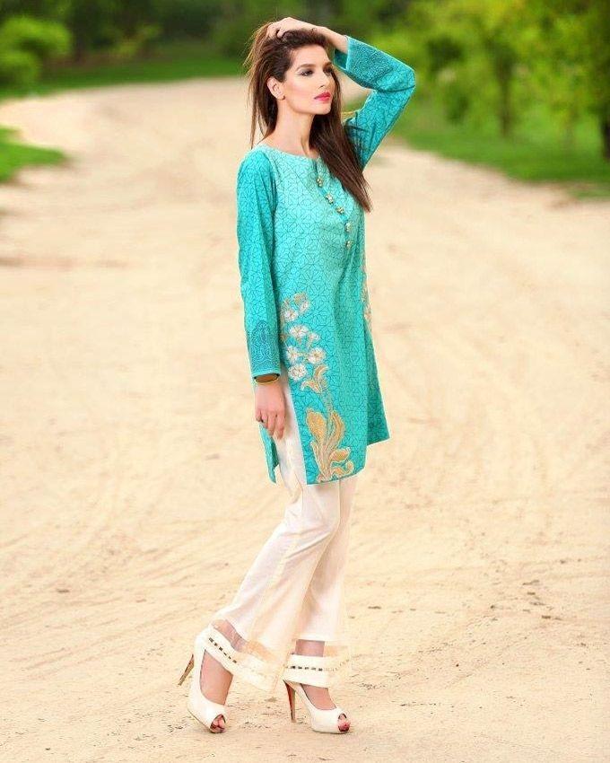 Green Sana & Samia Kurti Collection