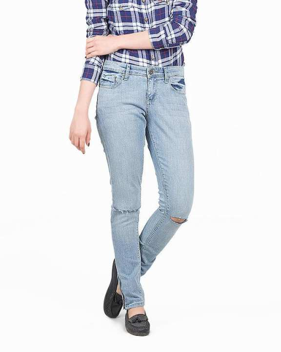Blue Denim Ripped Jeans For Women