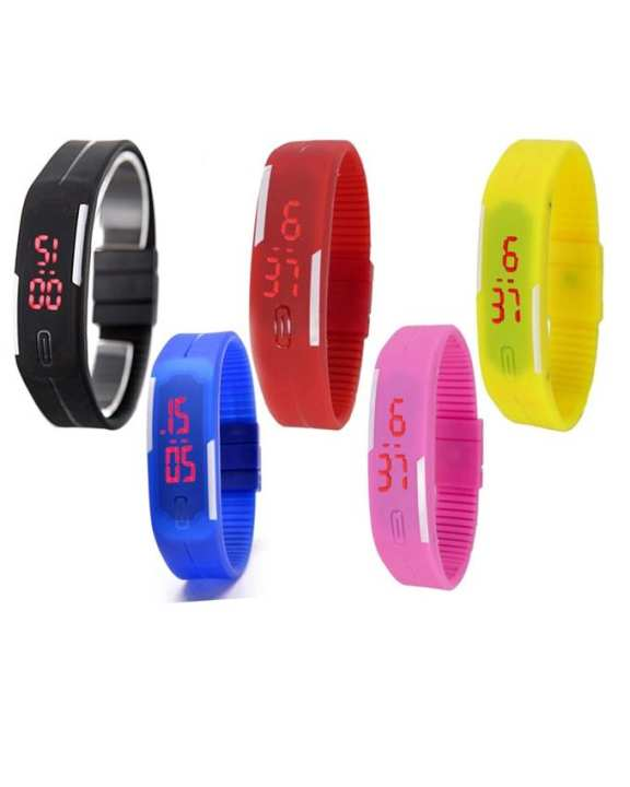 Pack Of 5 Rubber LED Watch For Kids - Multicolour