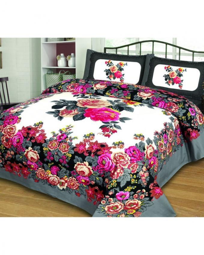 Multicolor Cotton Panel Print Bed Sheet - King Size - 3 Pcs