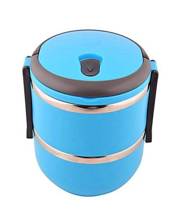 2 Layer Stainless Steel Round Lunch Box - Blue