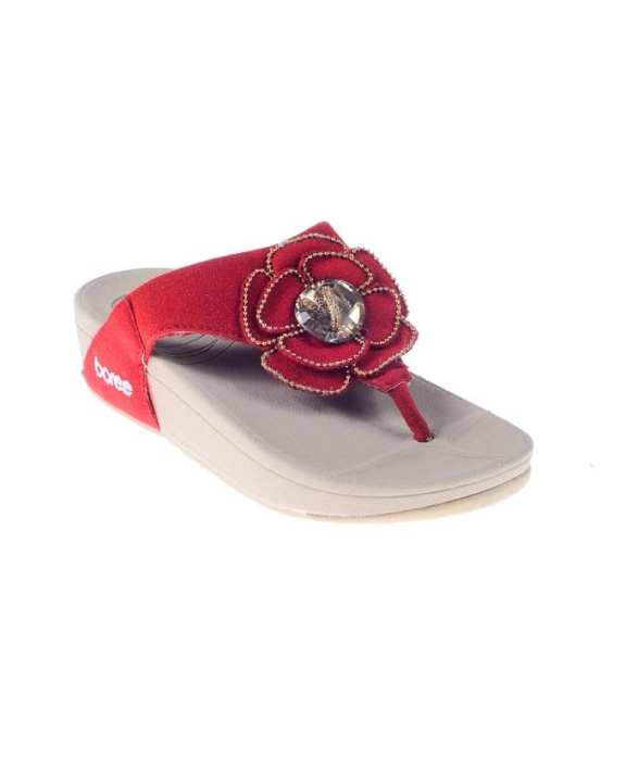 Maroon Suede Leather Slippers for Women - RR147