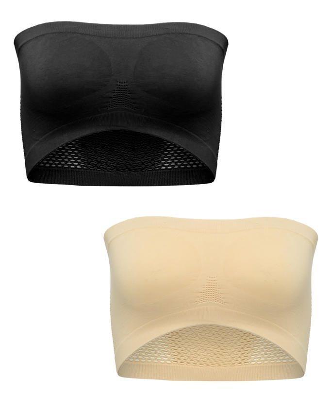 Pack of 2 - Skin & Black Strapless Bras