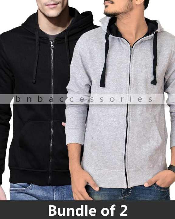 Pack of 2 - Black & Grey Fleece Zipper Hoodies for Men